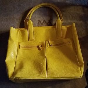 Neiman Marcus Yellow Embossed Leather Tote Bag